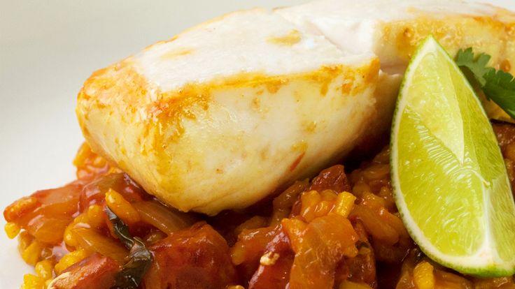 Chorizo and Halibut Paella