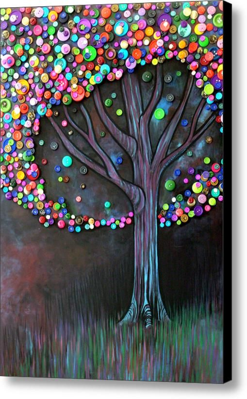 Button Tree 0006 Canvas Print / Canvas Art By Monica Furlow