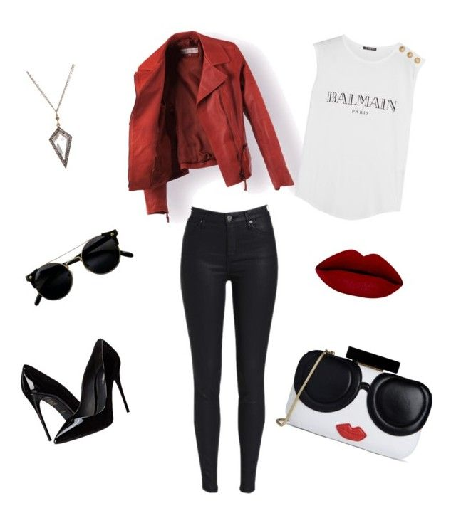 """""""#RedFashion"""" by kareenleon on Polyvore featuring Dolce&Gabbana, Alice + Olivia and Balmain"""