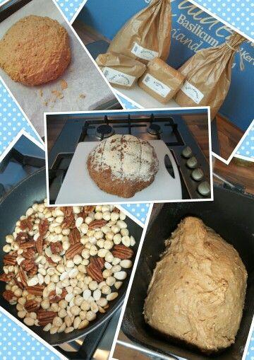 Brood bakken. Van alles uit proberen met bloem, meel, spelt, noten. Het ruikt fantastisch.  Veel recepten van uitdekeukenvanarden.blogspot