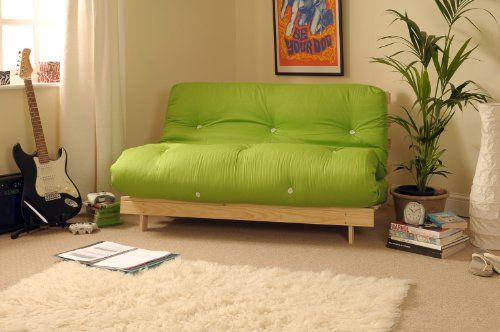 4ft Small Double 120cm Wooden Futon Set with LIME GREEN Mattress