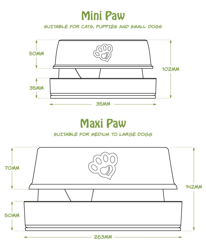 Bowls come in 2 sizes. Mini and Maxi Paw. Mini Paw for Cats, Small Dogs and Maxi for Large dogs.