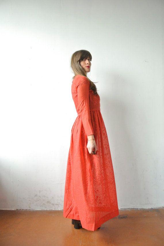 Fancy er Vintage Kleid RED MAXI Hippie Empire von OLENKA Vintage auf Etsy uac
