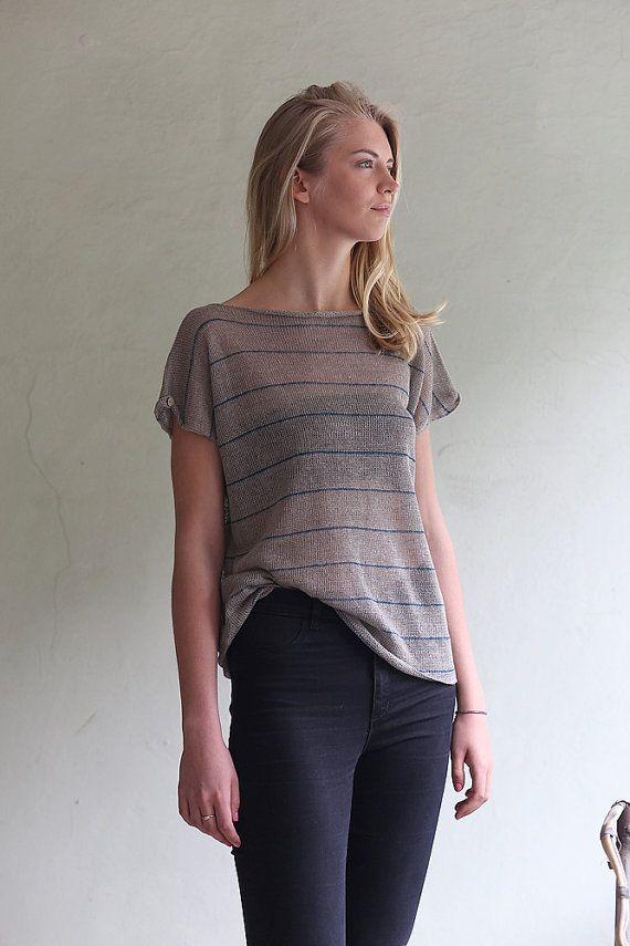 Handmade linen top Knit linen blouse Natural grey by PappusStore