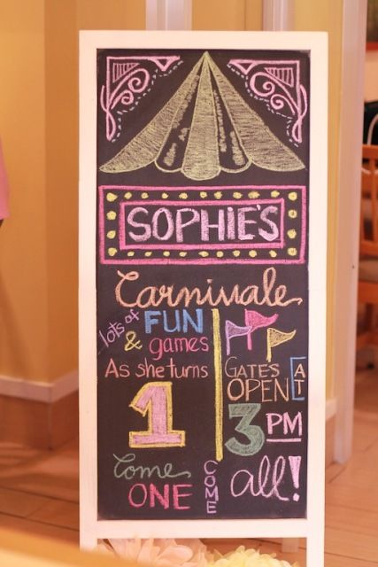 Sophie's Pretty in Pink Carnival Themed Party: Chalkboard at the entrance