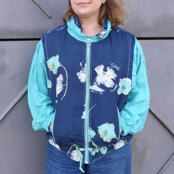 Crazy jacket vintage 80s, navy Windbreaker jacket with zipper, spring jacket, floral sports jacket, floral 80s windbreaker, hipster jacket.