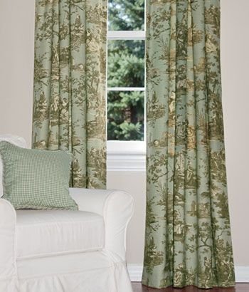 Country Day Toile Rod Pocket Curtains Dining Room