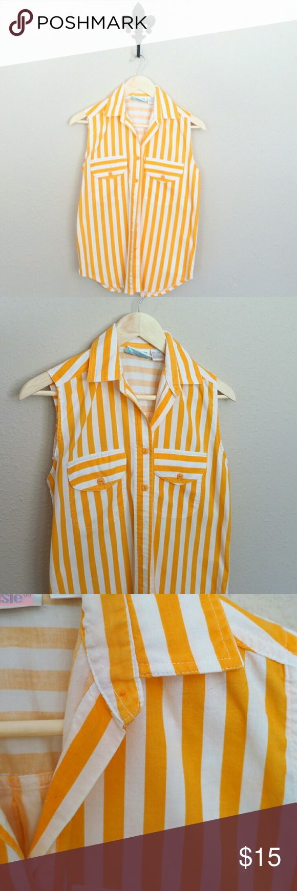 Center Aisle Orange Sherbert Sleeveless Blouse Striped Button Down   100% Cotton   Perfect for a Sunny Sunny Day , Beach Trip Or even Festival ! Center Aisle  Tops Blouses