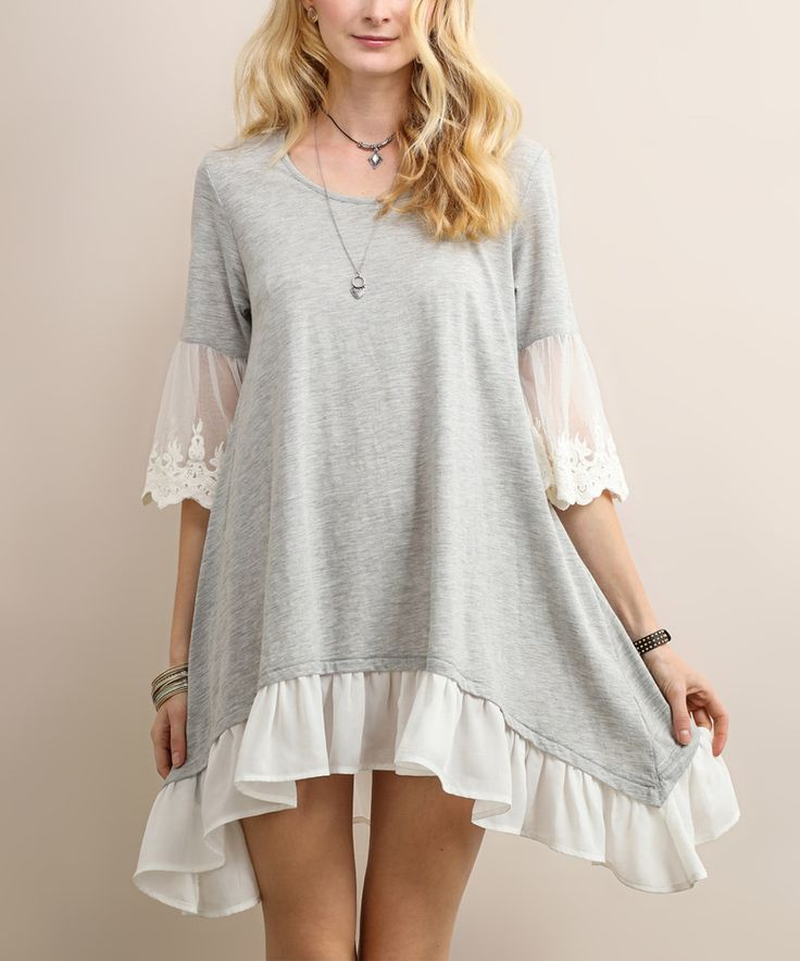 Another great find on #zulily! Tassels N Lace Heather Gray & White Ruffle-Trim Sidetail Dress by Tassels N Lace #zulilyfinds
