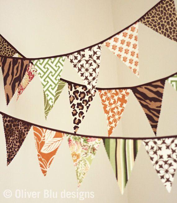 Mini pennant fabric banner bunting in jungle and safari for Safari fabric for nursery
