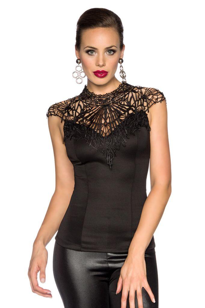 Vintage top met kant Zwart :http://shop.emeralbeautylife.nl/fashion/product/vintage-top-met-kant-zwart/