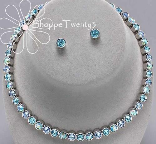 Blue Necklace Set Unique Something Blue Tennis Wedding Bridal Jewelry New Boxed $49 / Free USA Shipping
