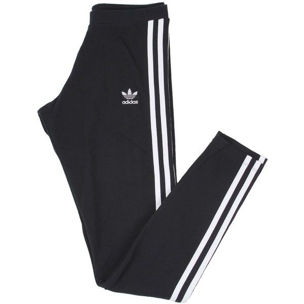 Adidas Womens Originals Clothing 3 Stripe Leggings Black (€28) ❤ liked on Polyvore featuring adidas and cotton jersey