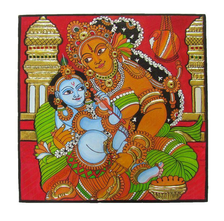 Chola Impressions Exclusives: Krishna Yashodha Kerala Mural Tanjore Painting by Cholaimpressions.com