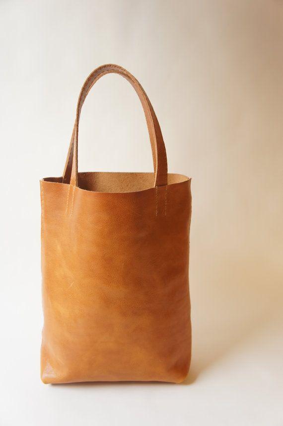 Medium Leather Tote - Cognac