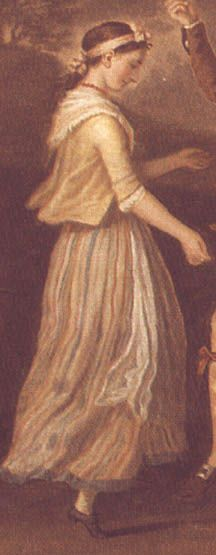 Details from David Allan's painting, 'A Highland Wedding at Blair Atholl', painted in the 1780    Evidence of striped petticoat worn with solid jacket