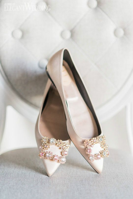 81b06b430e1 blush pointed bridal flats with embellished buckles by Manolo Blahnik shoes   wedidngshoes  weddings  wedidngideas