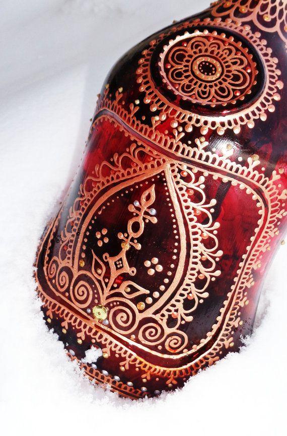 Henna Mehndi Incense Smoking Bottle Red Brown Mahogany Copper  www.facebook.com/behennaed   tags: Glass  Bottle  henna  mehndi  incense  India  Morocco  hippie  festival  smoke  nag champa  bellydance  yoga gypsy  tarot