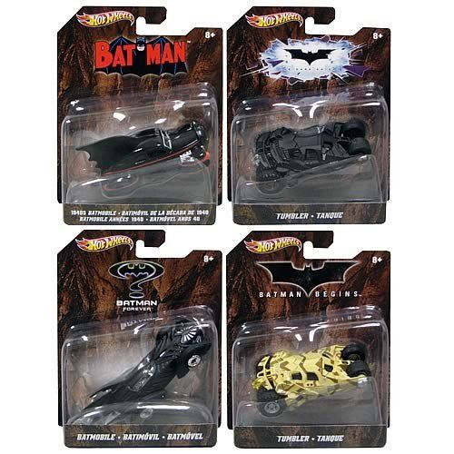 Hot Wheels 1:50 Batman Vehicles Wave 2 Case by Mattel. $60.99. Done on a larger scale, these stylish vehicles are loaded with the kind of detail that drives collectors and Batman fans batty with excitement!. Ages 8 and up.. Not for use with Hot Wheels sets.. Hot Wheels 1:50 Batman Vehicles Assortment Wave 2 Case includes 8 individually packages vehicles (subject to change): 2x Batman Forever Batmobile 2x Batman Begins Tumbler 2x 1940's Batmobile 2x Dark Knight Tumbler This 1...