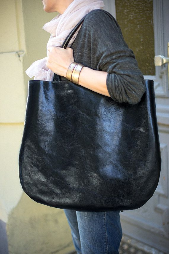 Black Oversized Leather Hobo Bag, Tote bag in black leather, every day bag on Etsy, $180.00