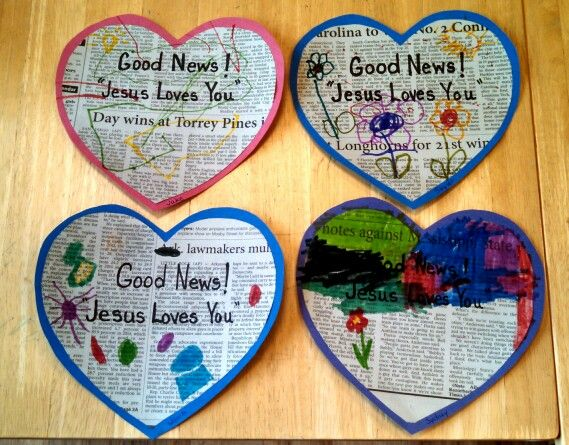 Children share the good news, by making these hearts, to share  with others! Missions Conference theme 2016