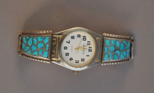 VINTAGE-ZUNI-SILVER-WATCH-BAND-TURQUOISE-CHANNEL-INLAY