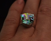 Irish Nugget,  Iridescent Bismuth Metal Crystal Ring, Unique, Geometric, Artistic Jewelry. $29.95, via Etsy.