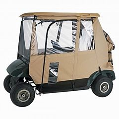 A 3 sided golf cart provides better visibility  than a 4 sided one that interferes with seeing through the front windshield.