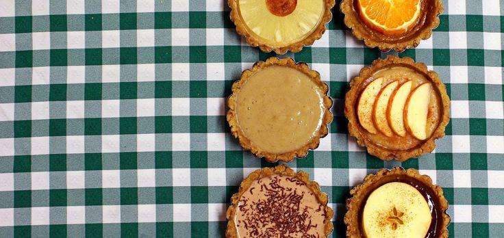 Deliciosas Mini-tartes de massa quebrada com recheios diversos, isentas de gluten e sem açúcar adicionado! Excelentes como sobremesa saudável ou como snack.