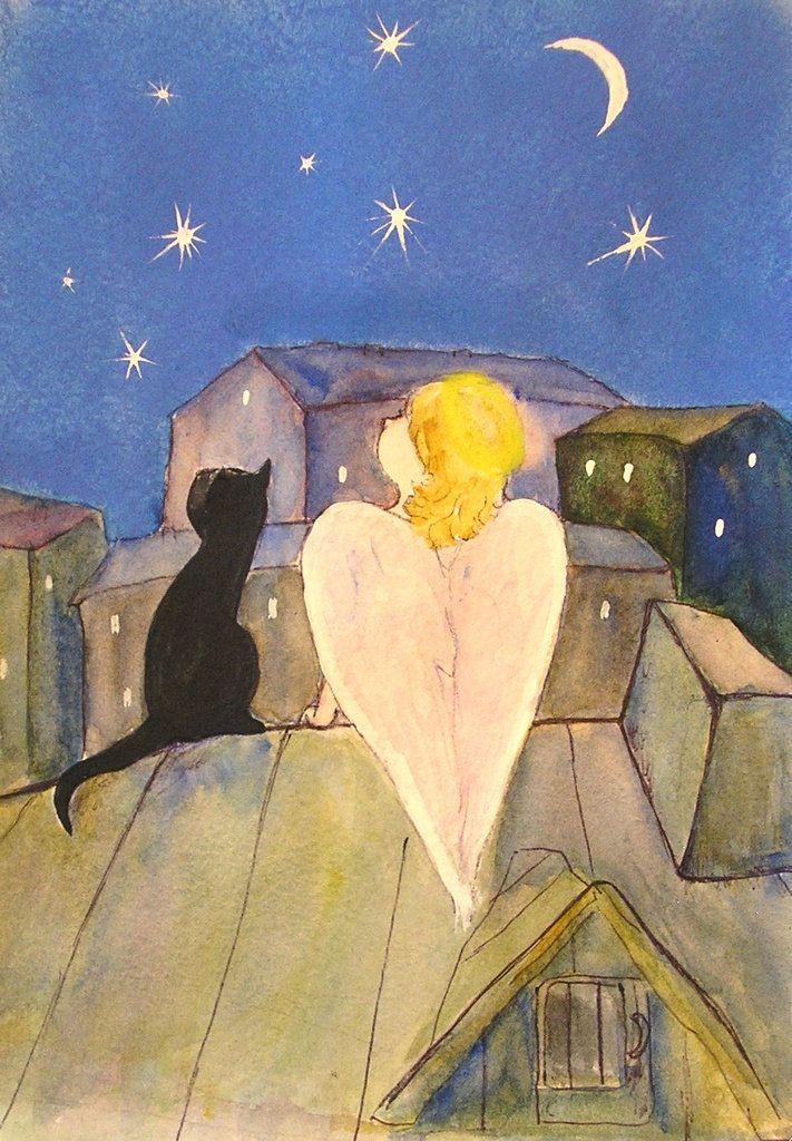 Картины ангелы и коты