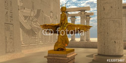 Illustration: Egyptian Isis Statue - An Isis statue in the Temple of Isis which is part of the religion of ancient Egyptian civilization.