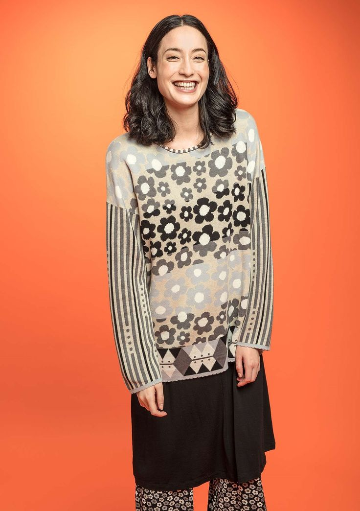 """You'll be truly lovely in the jacquard-knit """"Daisy"""" sweater. It is rich with patterns and sensational color combinations. Jacquard-knit in a beautiful blend of both linen yarn and organic cotton yarn."""