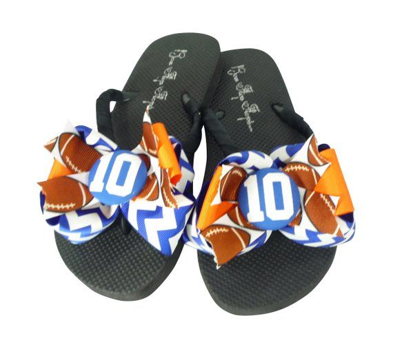 afe75057016737 Royal Chevron   Orange - to You Pick Colors - Custom glitter Bow Football flip  flops