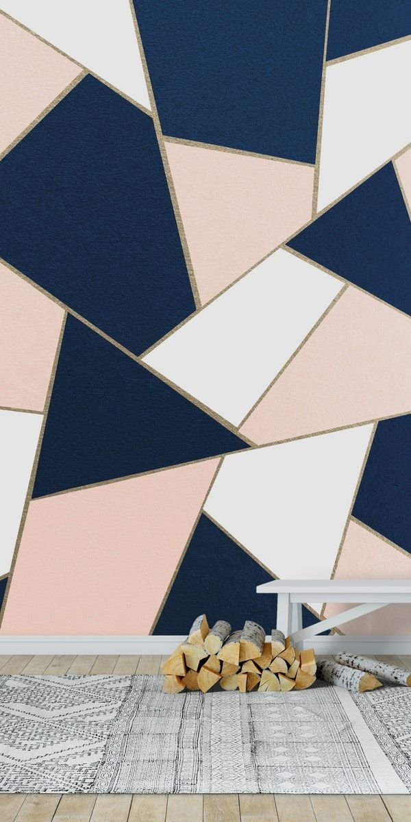 Navy Blue Blush Gold Geo 1 Wall Mural Wallpaper Abstract