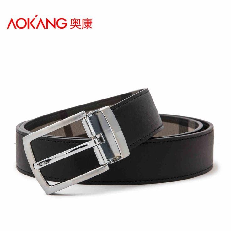 Aokang Double Genuine Leather Belts For Men Cowskin Pin Buckle Leather Designer Mens Belt Black Blue Cintos De Marca Masculinos