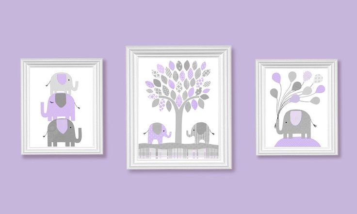 Grey and Lavender Nursery Elephant Prints Girl Nursery Decor ...