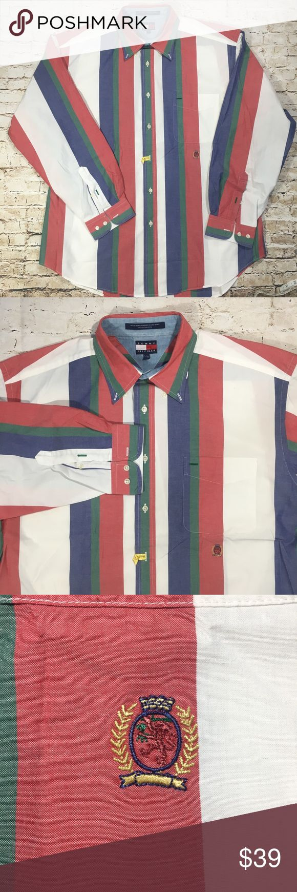 """Vintage Tommy Hilfiger Striped Button Down Large Pre-owned, vintage Tommy Hilfiger button down shirt with button down collar.  Features thick, multi-color vertical striping and crest under pocket.    No rips.  No stains.  No tears.    My goal is to make sure that you are satisfied with your purchase.  Please review the following measurements to ensure proper fit upon arrival of your new shirt.   Width (armpit to armpit): 25.5""""  Length: 30""""  Sleeve length: 23.5""""  Thank you for looking at my…"""