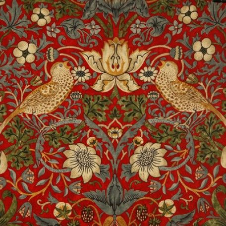 William Morris Strawberry Thief Crimson Oilcloth Tablecloth | Wipe Easy Tablecloths