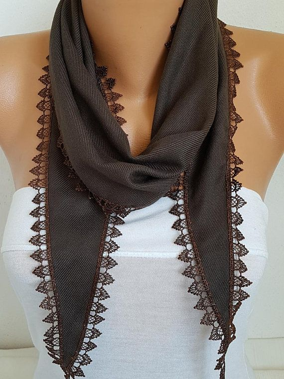 Brown Pashmina Scarf Copper Trim Summer Scarfbirthday GiftBohemianCowl