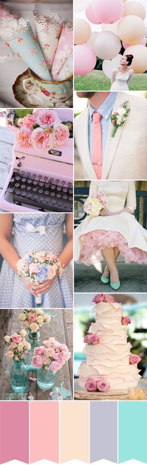 A super girly pink and blue colour palette with a vintage twist