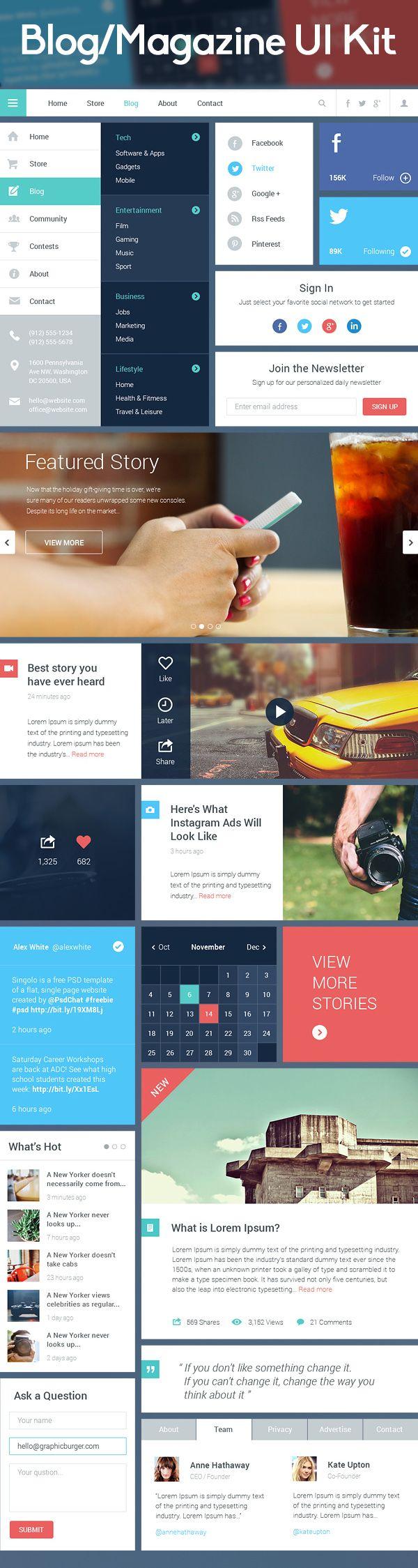 Blog/Magazine UI Kit Free Download