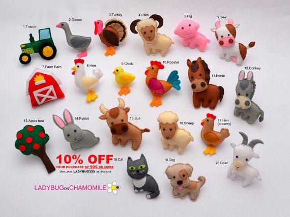 FARM ANIMALS felt magnets Price per 1 item by LadybugOnChamomile