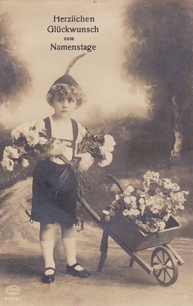 Vintage AK Junge In Tracht Mit Schubkarre Blumen