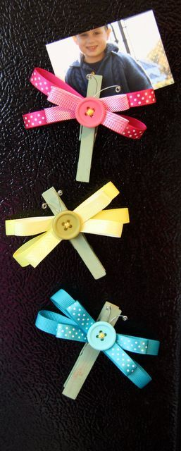 ribbon and clothespin magnet