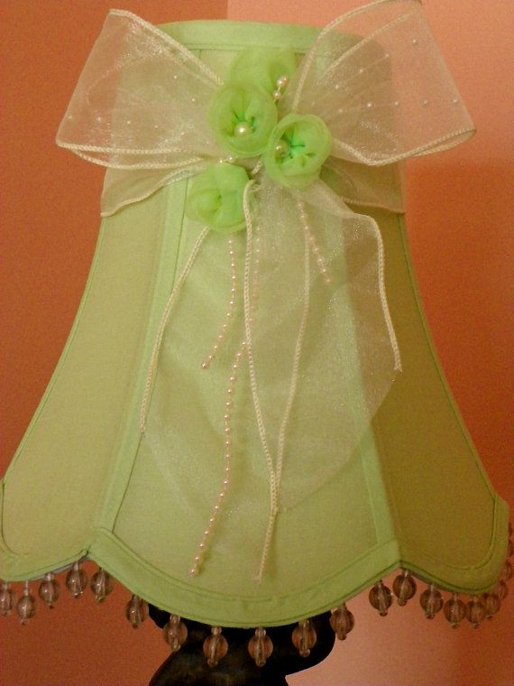Soft Pastel Green Lamp Shade with Ecru Bow Pearls by Chaseyblue