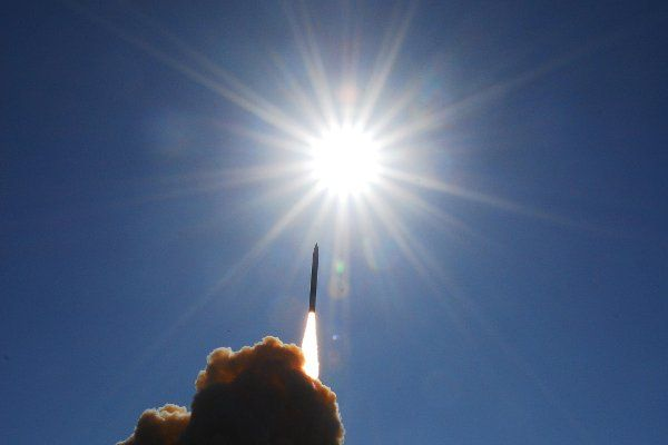 A ground-based interceptor is launched from Vandenberg Air Force Base, California, toward a ballistic missile target launched from Alaska during a test Dec. 5, 2008. (Photo courtesy of the Missile Defense Agency)