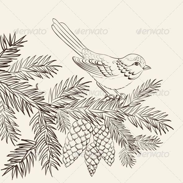 GraphicRiver Bird on Christmas Fir and Pinecone 6049717