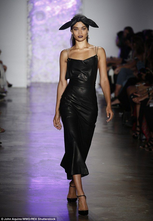 Back to black: In addition to the pretty pastel shades, the catwalk collection also featured some bold leather dresses
