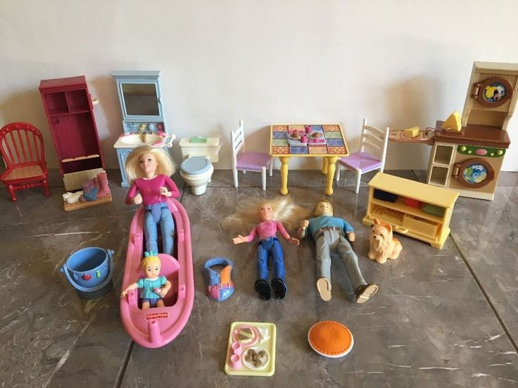 Fisher Price Loving Family Lot With Furniture Dolls Canoe & Accessories