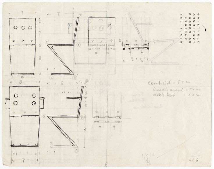 working drawings of an early zigzag chair design by Gerrit Rietveld